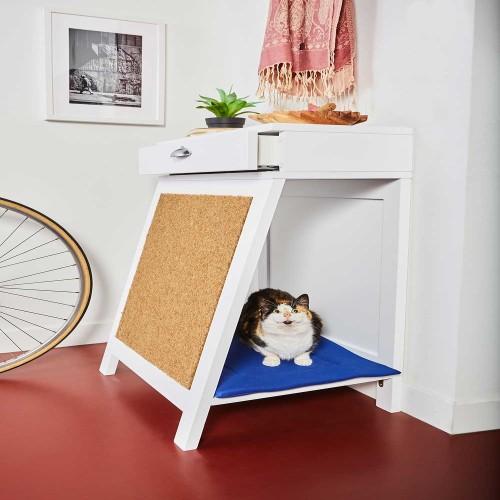Recibidor de madera cama rascador para gatos  color Azul Suave