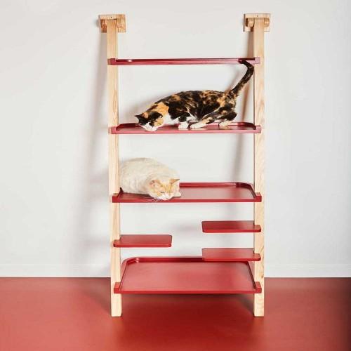 Estantería de madera para gatos centro de juegos color Wenge Natural