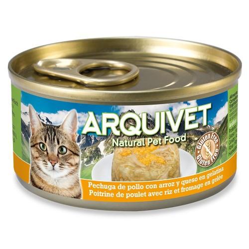 Comida húmeda Arquivet para gatos sabor pechuga de pollo y arroz con queso
