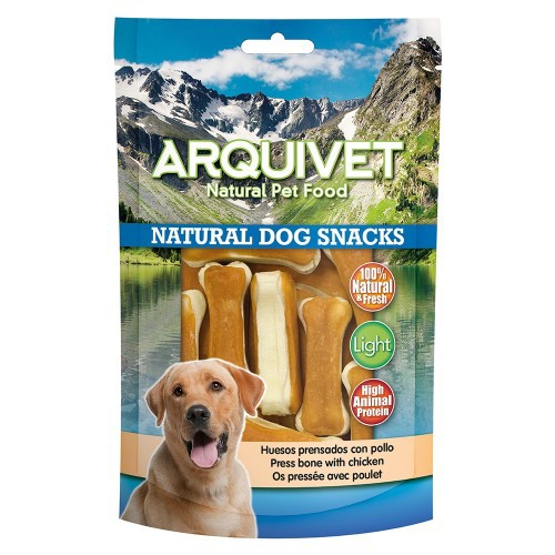 Huesos prensados Natural Dog Snacks Arquivet para perros sabor Pollo