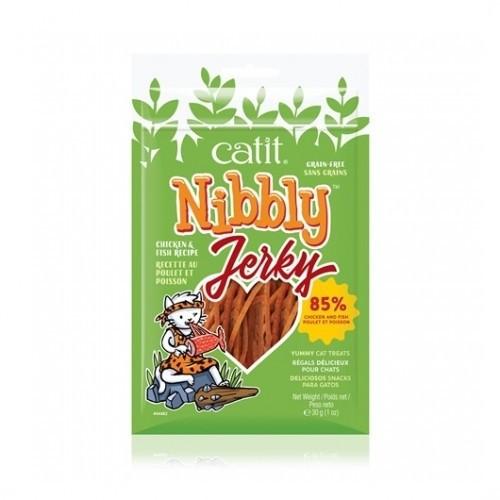 Snack Nibbly Jerky de pollo y pescado para gatos