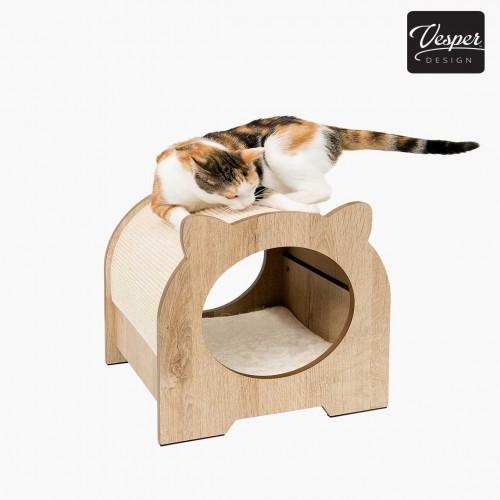 Rascador Vesper Minou para gatos color Roble