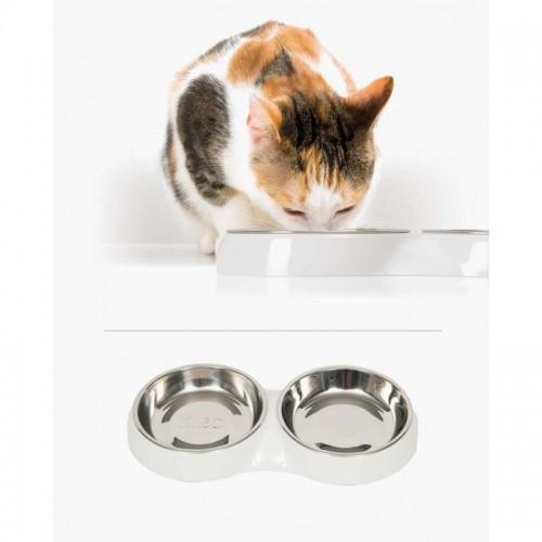 Comedero blanco de acero inoxidable para gatos