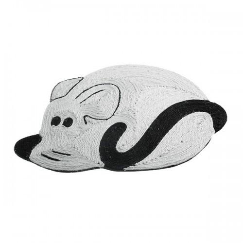 Rascador/alfombra con forma ratón color Blanco