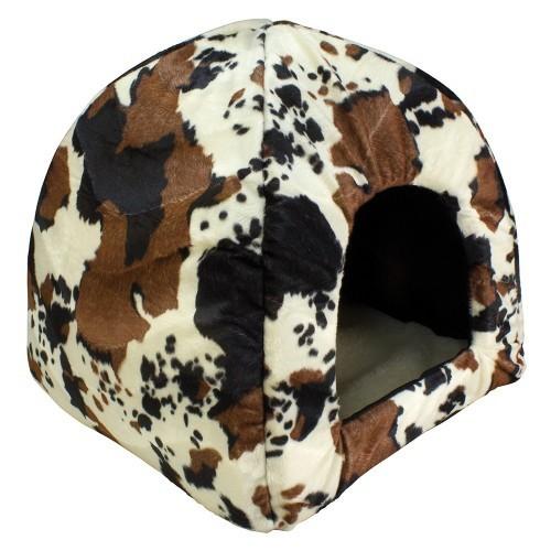 Cama iglú para perros y gatos Piel de vaca color Marrón