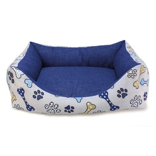 Cama Huesos y huellas para perros color Azul