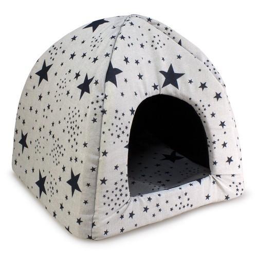 Cama iglú Estrellas para perros y gatos color Negro