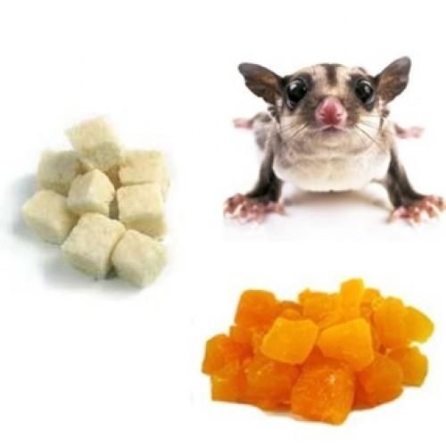 Snack de fruta deshidratada para petauros sabor Coco y mango