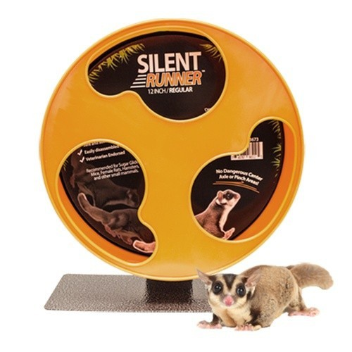 Rueda de ejercicio Silent Wheel para petauros y pequeñas mascotas color Negro y Naranja