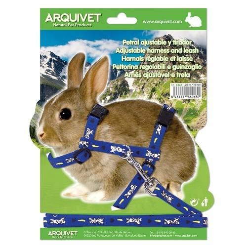 Petral ajustable estampado conejo color Azul