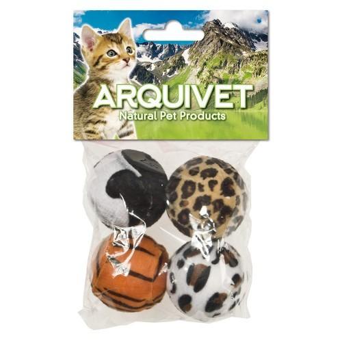 Pack de 4 pelotas con estampado para gatos color Variado