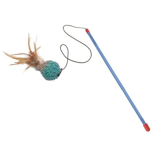 Palo con bola y plumas para gatos color Azul