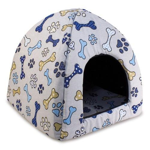 Casa iglú Huesos y huellas para perros y gatos color Azul