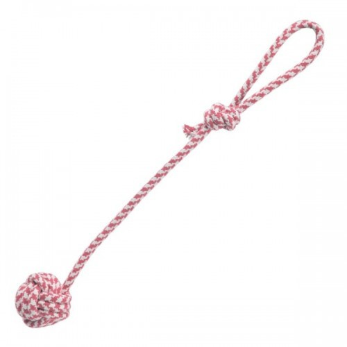 Pelota con tirador de doble nudo para perros color Rosa