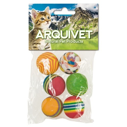 Pack de 6 pelotas multicolor para gatos color Variado