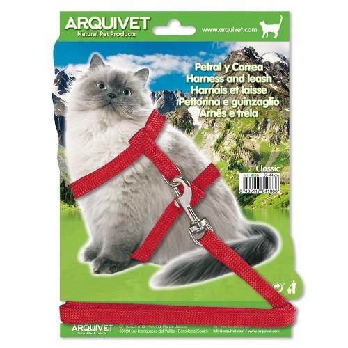 Correa y petral Classic para gatos color Rojo