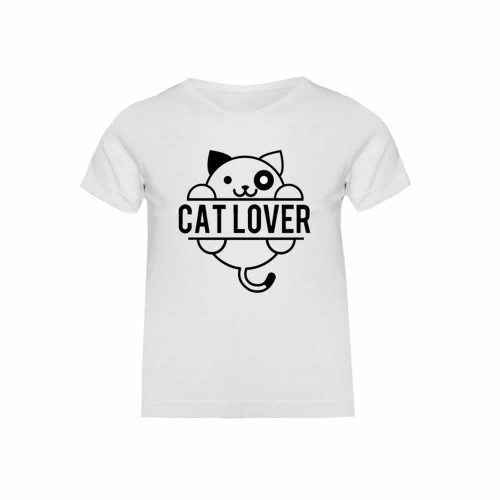 "Camiseta niña ""Cat lover"" color Blanco"