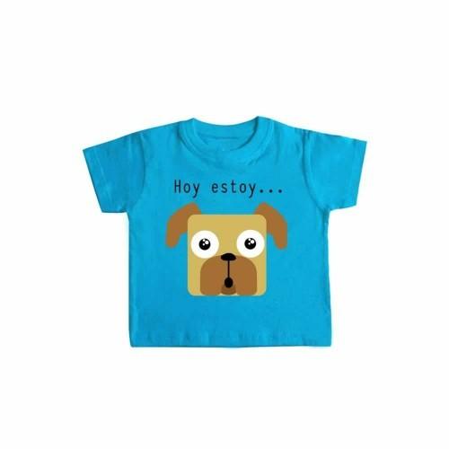 """Camiseta bebé """"Hoy estoy... emocionado"""" color Azul"""