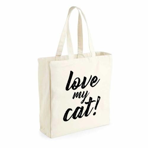"Bolsa saco ""Love my cat"" color Blanco"