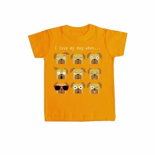 "Camiseta niño/a ""I love my dog when..."" color Naranja"