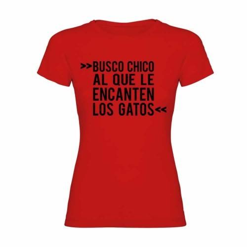 """Camiseta mujer """"Busco chico al que le encanten los gatos"""" color Rojo"""
