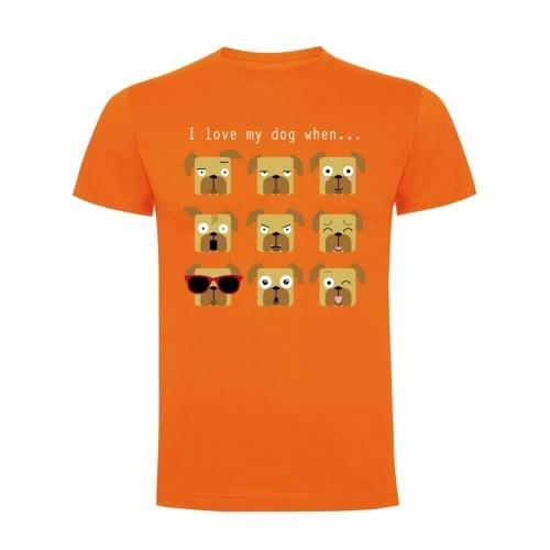 "Camiseta hombre ""I love my dog when..."" color Naranja"