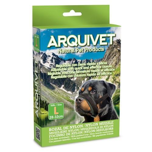 Bozal de nylon con lazo acolchado para perros color Negro