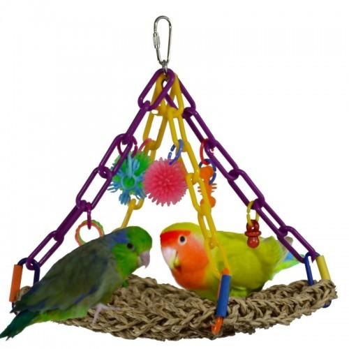 Juguete trapecio colgante para loros color variado