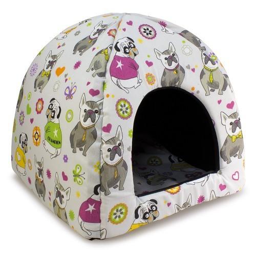 Casa iglú Bulldog para perros y gatos color Morado
