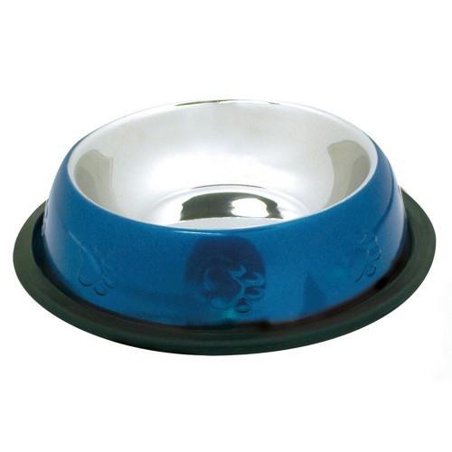 Comedero acero inoxidable antideslizante color azul