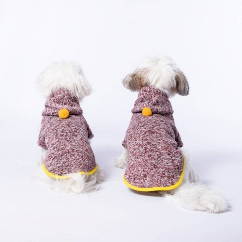 Jersey Chispa Pompón para perros color Burdeos