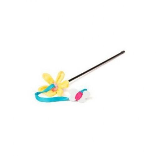 Juguete caña, flor y mariposa para gatos color Varios