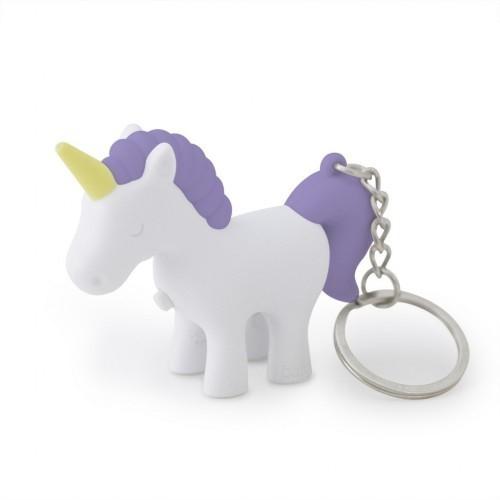 Llavero con luz y sonido con forma de unicornio morado