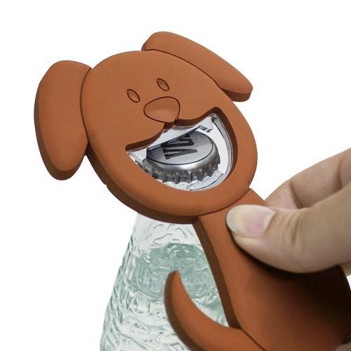 Abre-botellas Woof! en forma de perro color Marrón