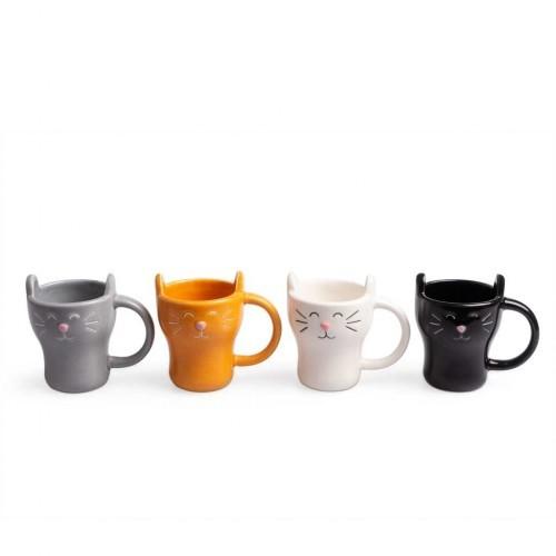Pack de 4 tazas con forma de gato color Variado