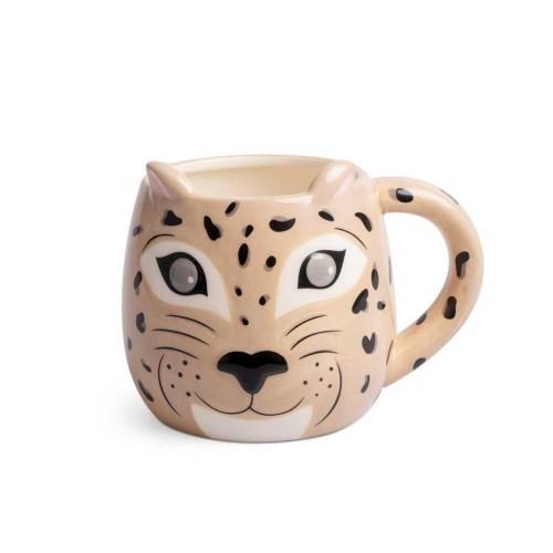 Taza con forma de leopardo color Marrón