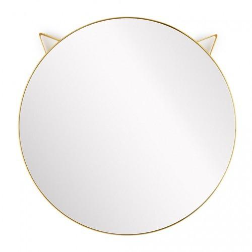 Espejo redondo de pared con orejas de gato color Dorado