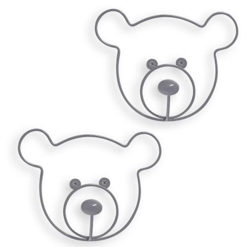 Set de 2 colgadores con forma de cabeza de oso color Gris