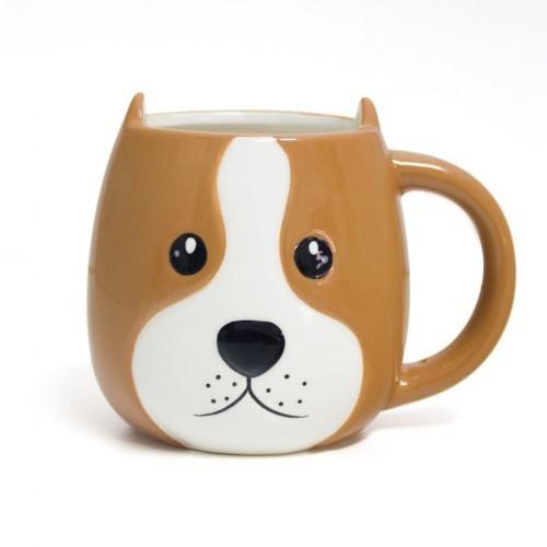 Mug Woof! Taza en forma de cabeza de perro color Marrón