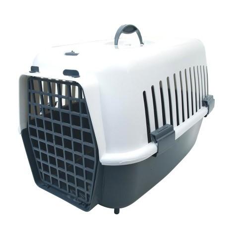 Transportín de plástico para mascotas color Gris