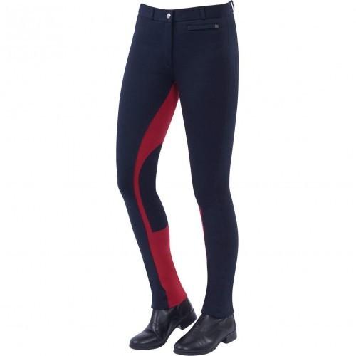Pantalón de equitación con cremallera y culera Euro Supa-fit mujer color Azul Marino/Rojo