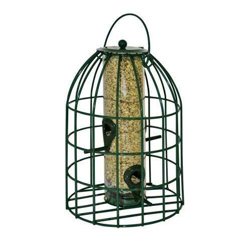 Poste de alimentación de semillas con protección para pájaros