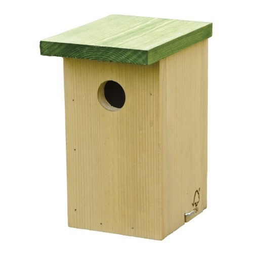 Caja para nido de pino para pájaro color Beige y Verde