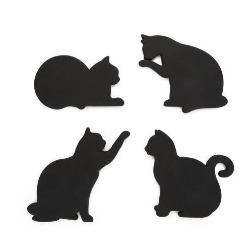 Set de 4 posavasos en forma de gato color Negro