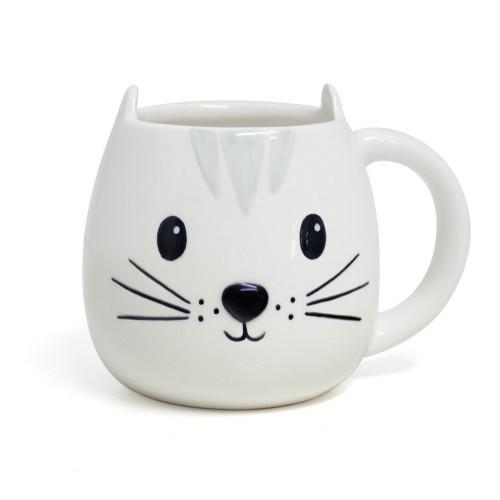 Taza Kitty en forma de cabeza de gato color blanco