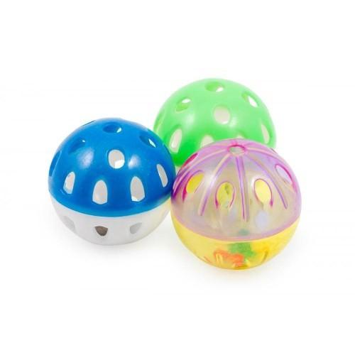 Pack de 3 pelotas de plástico con cascabel para gatos