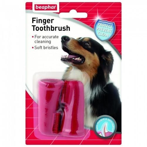 Pack de 2 cepillos de dientes de dedo para perros