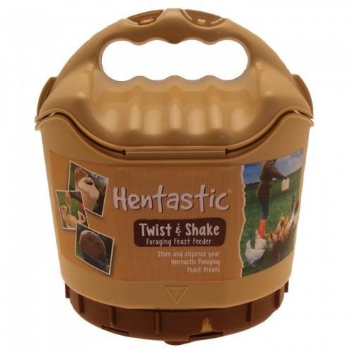 Comedero de plástico portátil Twist & Shake para gránulos de forrajeo para gallinas