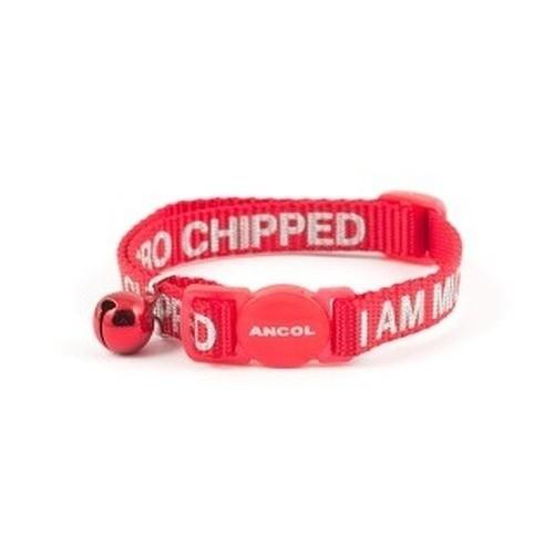 Collar texto I Am Microchipped para gatos color Rojo