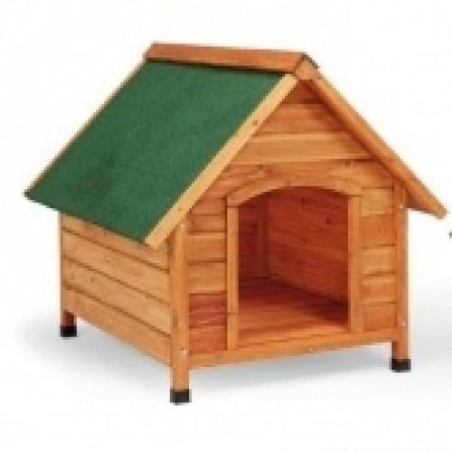 Caseta de madera con el techo a dos aguas para perros color Madera